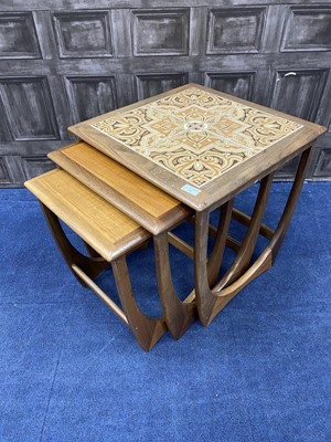 Lot 66 - A RETRO NEST OF THREE TILE TOPPED TABLES