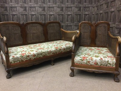 Lot 1379 - A MID-20TH CENTURY WALNUT BERGERE SUITE
