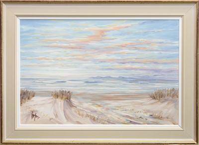 Lot 598 - SUMMER SHORE, MACHRIHANISH IV, AN OIL BY TOM BARRON