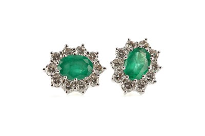 Lot 382 - A PAIR OF EMERALD AND DIAMOND EARRINGS
