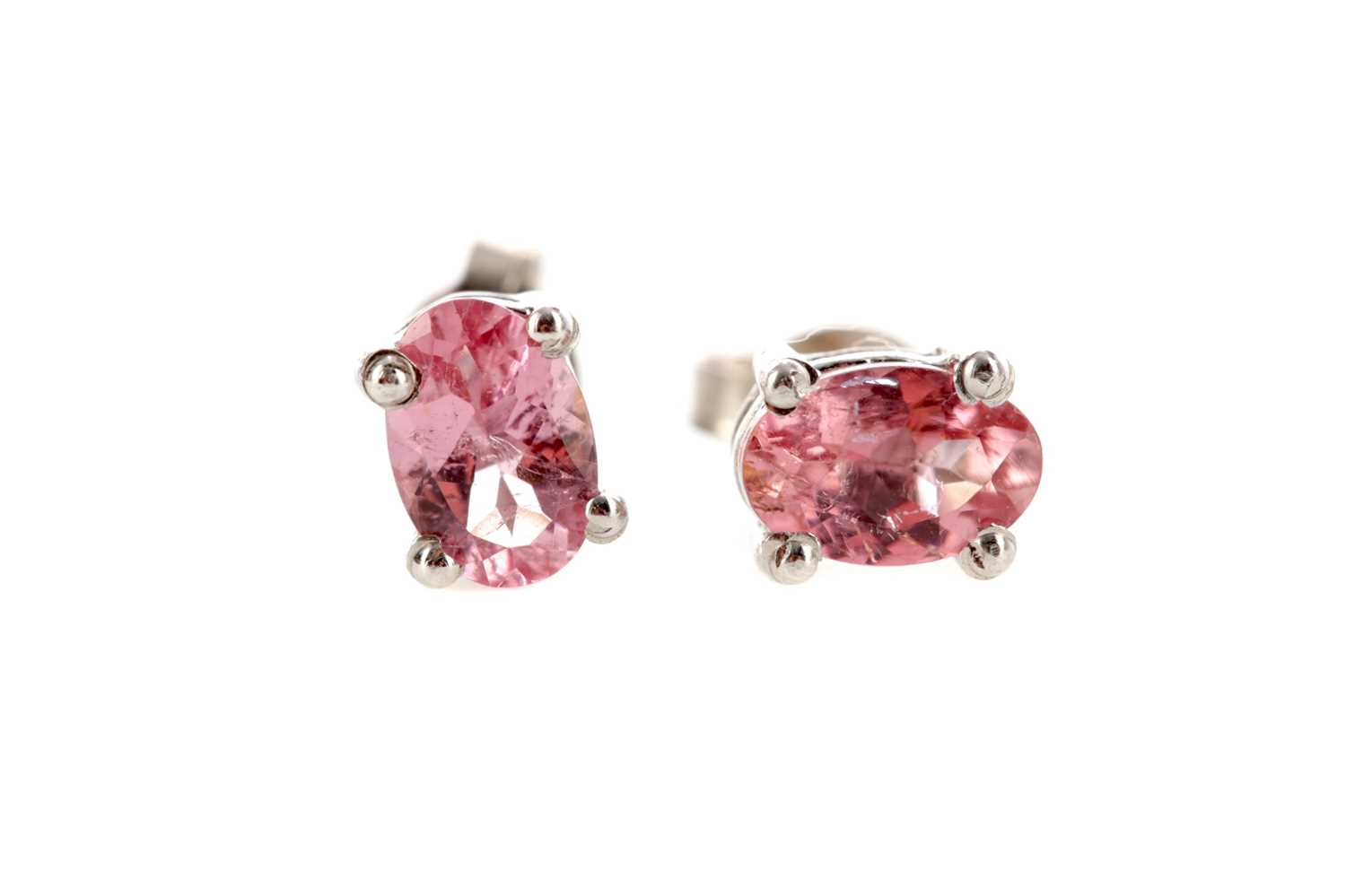 Lot 453 - A PAIR OF PINK TOURMALINE STUD EARRINGS