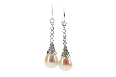 Lot 445 - A PAIR OF PEARL AND DIAMOND EARRINGS