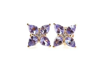 Lot 477 - A PAIR OF TANZANITE AND DIAMOND EARRINGS