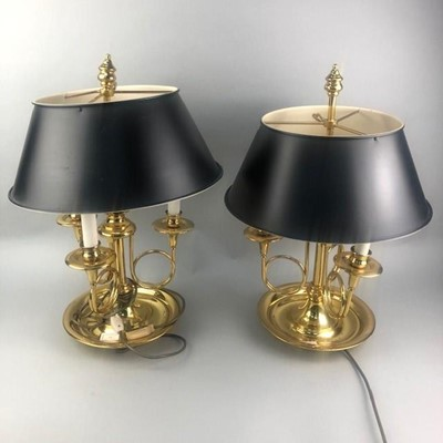 Lot 77 - A PAIR OF BRASS LAMPS