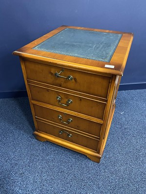 Lot 81 - A YEW WOOD FILING CHEST