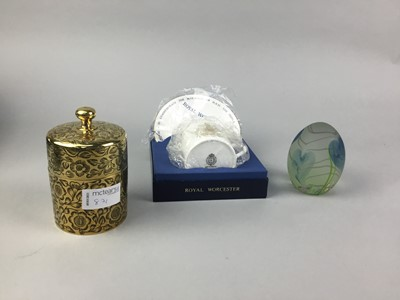 Lot 87 - A CAITHNESS PAPERWEIGHT, ROYAL WORCESTER CUP AND SAUCER AND A BRASS BOX