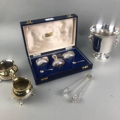 Lot 88 - A SILVER PLATED CRUET SET AND OTHER SILVER PLATED WARE