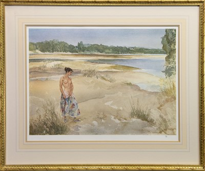Lot 518 - SHORESIDE STROLL, A PRINT BY SIR WILLIAM RUSSELL FLINT
