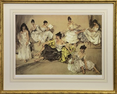 Lot 519 - BEHIND THE SCENES, A PRINT BY SIR WILLIAM RUSSELL FLINT