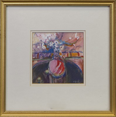 Lot 592 - STILL LIFE OF FLOWERS IN A VASE, A MIXED MEDIA BY ANDREW CROSS