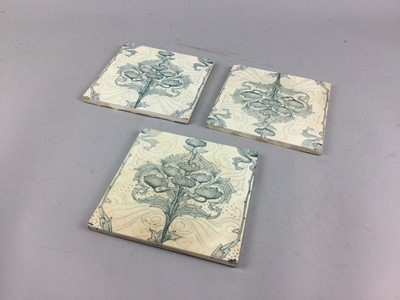 Lot 23 - A SET OF THREE MINTONS SQUARE TILES AND TWO ROYAL WORCESTER PLAQUES