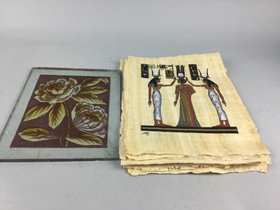 Lot 31 - A GRADUATED SET OF THREE LACQUERED SQUARE TRAYS, PICTURES AND A PANEL