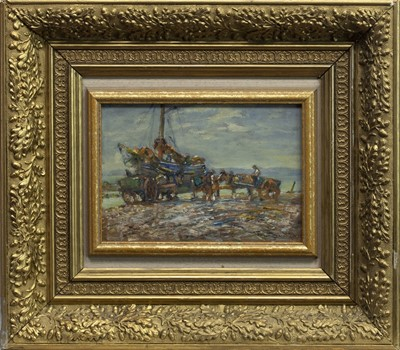 Lot 113 - UNLOADING THE CATCH, AN OIL BY GEORGE SMITH