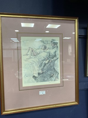 Lot 92 - SLEEPING CHILD, A LIMITED EDITION PRINT BY JEAN HARPER AND OTHER PICTURES