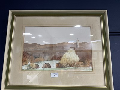 Lot 93 - STIRLING BRIDGE AND WALLACE MONUMENT, A WATERCOLOUR BY MCANALLY AND ANOTHER