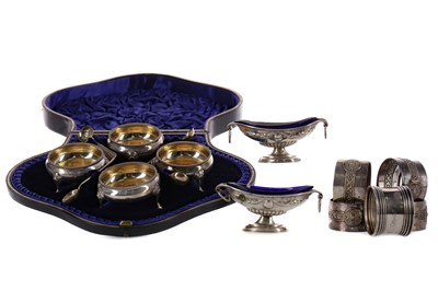 Lot 421 - A CASED SET OF FOUR SILVER OPEN SALT CELLARS AND OTHER SILVER WARE
