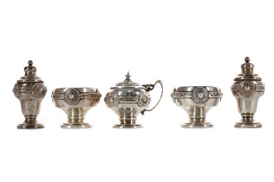 Lot 425 - A GEORGE V SILVER CRUET SET, ALONG WITH ANOTHER