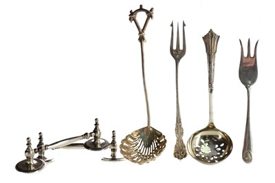 Lot 431 - A SET OF THREE GEORGE III SILVER SAUCE LADLES, ALONG WITH ASSORTED SILVER AND PLATED FLATWARE