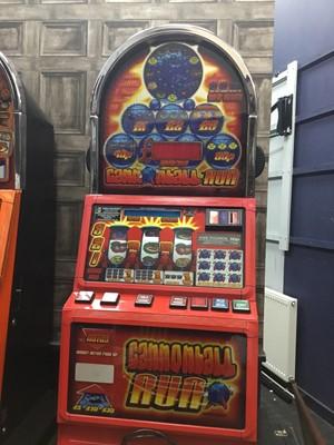Lot 39 - A CASINO MODEL, DOMED TOP 'CANNONBALL RUN £5 JACKPOT FRUIT MACHINE