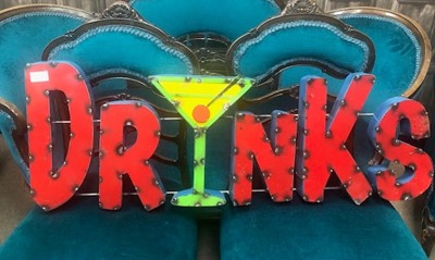 Lot 66 - 'DRINKS', A MEXICAN INDUSTRIAL ART PUB SIGN