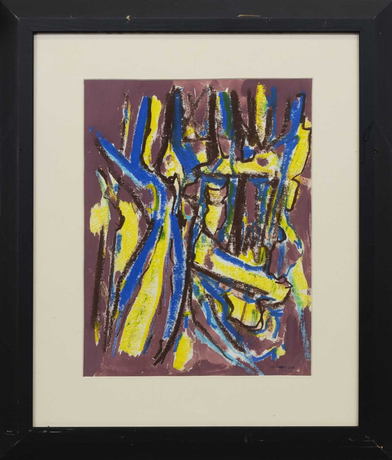 Lot 542 - BLUE-YELLOW, A PASTEL AND ACRYLIC BY WILLIAM GEAR