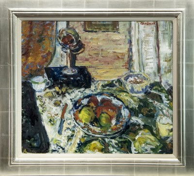 Lot 560A - STILL LIFE WITH FRUIT TARRAZA, AN OIL BY SANDIE GARDNER