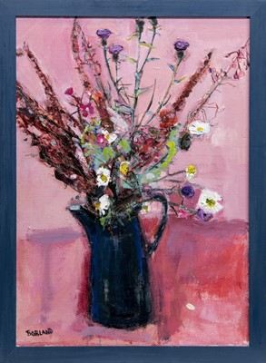 Lot 569 - HEDGEROW FLOWERS, AN OIL BY SUZANNE BORLAND