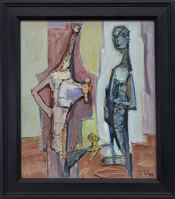 Lot 593 - TWO FIGURES, A MIXED MEDIA BY TADEUSZ WAS