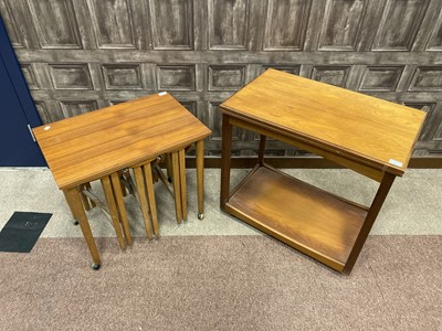 Lot 101 - A TEAK NEST OF TABLES, A TURN OVER TEA TABLE AND A DROP LEAF TABLE