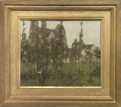 Lot 118 - THE ARTISTS COLONY, GREZ-SUR-LOING, NORMANDY, AN OIL BY DAVID GAULD