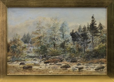 Lot 131 - FISHING AT PITLOCHRY, A WATERCOLOUR BY WALLER HUGH PATON