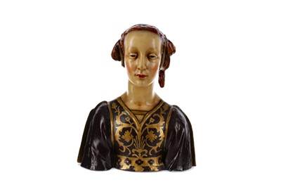 Lot 1029 - AN EARLY 20TH CENTURY ITALIAN TERRACOTTA BUST OF A LADY