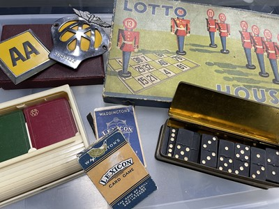 Lot 45 - A BAKELITE PLAYING CARD DISPENSER, GAMES AND CAR BADGES