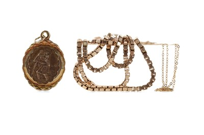 Lot 305 - A GOLD BOX CHAIN, A THIN CHAIN AND A ST CHRISTOPHER PENDANT