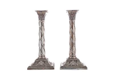 Lot 317 - A PAIR OF LATE VICTORIAN SILVER CORINTHIAN COLUMN CANDLESTICKS