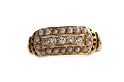 Lot 544 - A DIAMOND AND PEARL RING