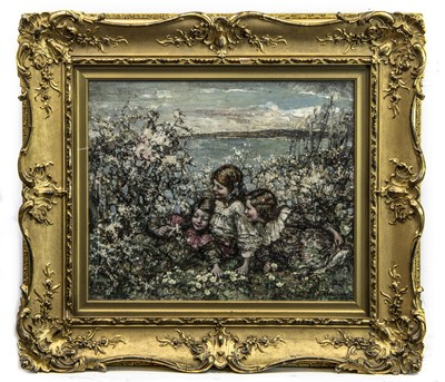 Lot 29 - THREE YOUNG GIRLS AMONGST BLOSSOM, BRIGHOUSE BAY BEYOND, AN OIL BY EDWARD ATKINSON HORNEL