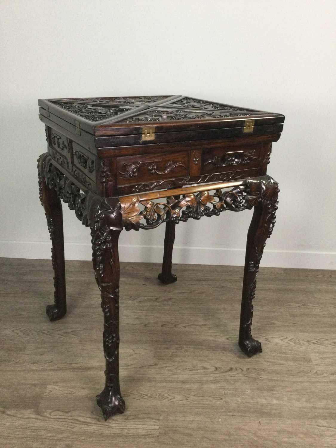 Lot 755 - A CHINESE ENVELOPE CARD TABLE