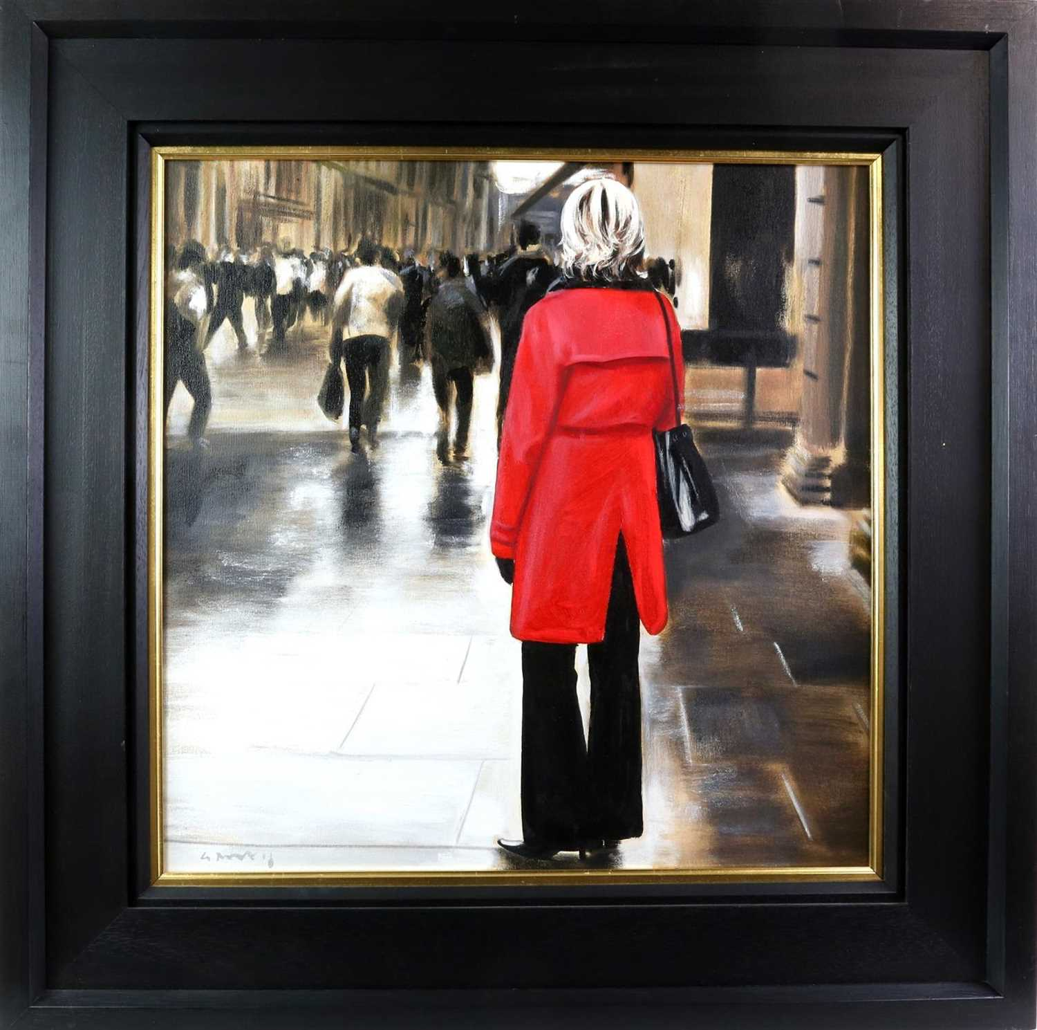 Lot 502 - RED COAT IN THE CITY (GLASGOW), AN OIL BY GERARD BURNS