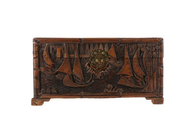 Lot 764 - A CHINESE CARVED WOOD BOX