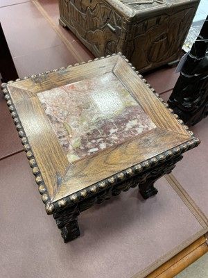 Lot 773 - AN EARLY 20TH CENTURY CHINESE SQUARE IRONWOOD TABLE