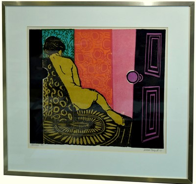 Lot 562 - REVERIE, A LINO & WOODCUT BY WILLIE RODGER