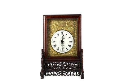 Lot 808 - A LATE 19TH CENTURY CHINESE ROSEWOOD TABLE CLOCK