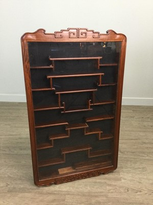 Lot 777 - A 20TH CENTURY CHINESE WALL MOUNTING DISPLAY CABINET