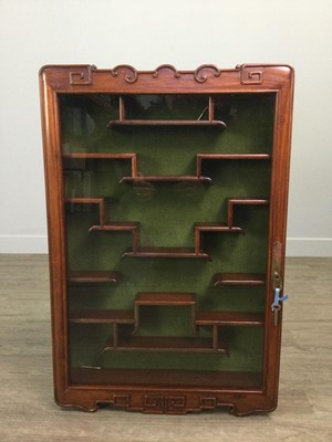 Lot 658 - A 20TH CENTURY CHINESE WALL MOUNTING DISPLAY CABINET