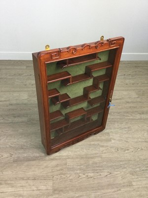 Lot 778 - A 20TH CENTURY CHINESE WALL MOUNTING DISPLAY CABINET