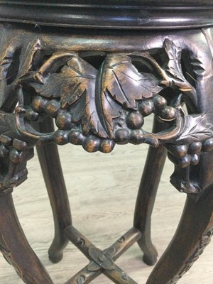 Lot 786 - A CHINESE CARVED WOOD PLANT TABLE