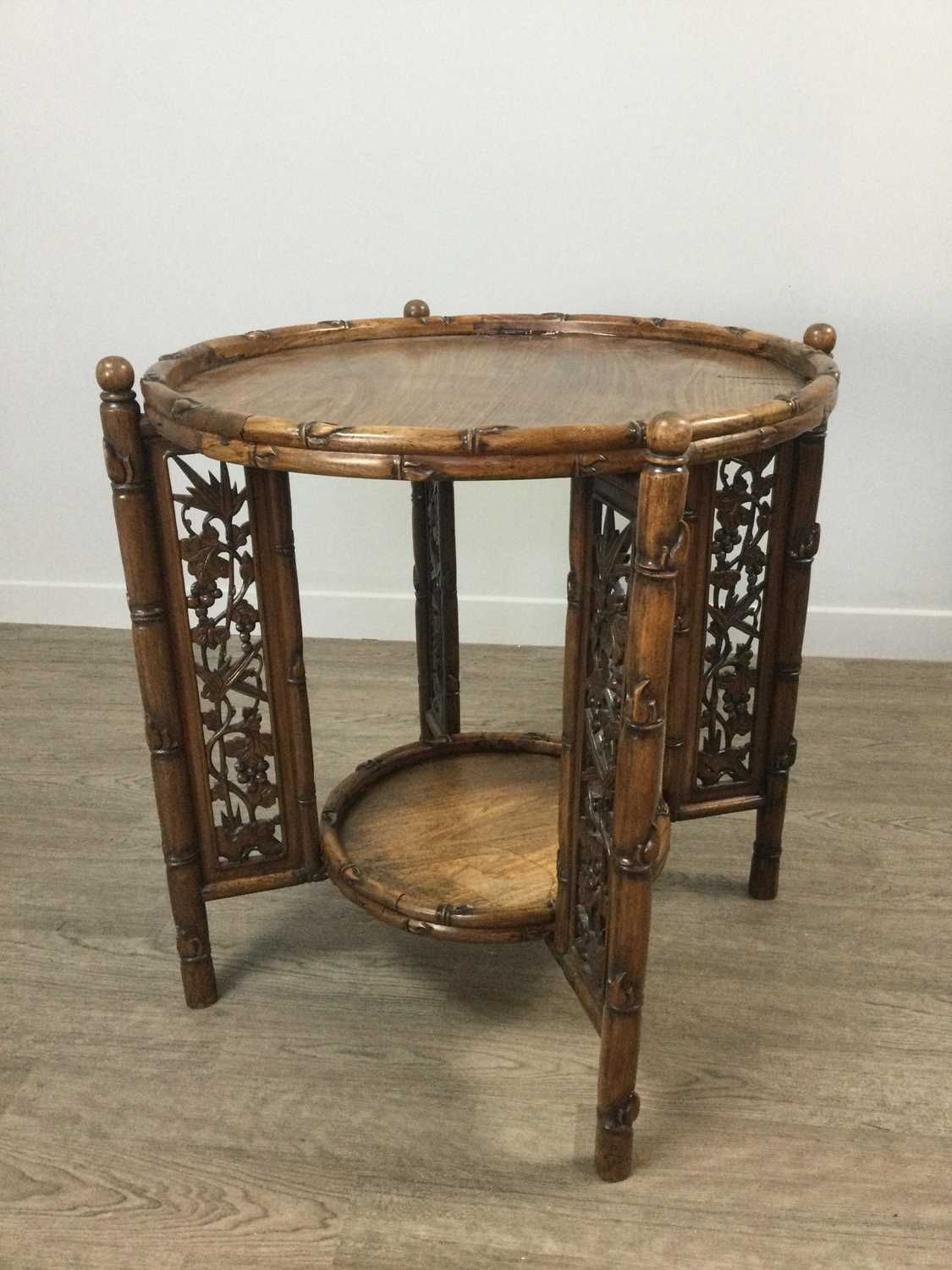 Lot 787 - A 20TH CENTURY CHINESE TABLE ON FOLDING STAND