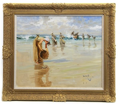 Lot 628 - THE BEACHCOMBERS, AN OIL BY JOHN HASKINS