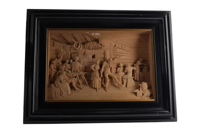 Lot 1369 - A TYROLEAN CARVED WOOD RELIEF BY SEBASTIAN STEINER